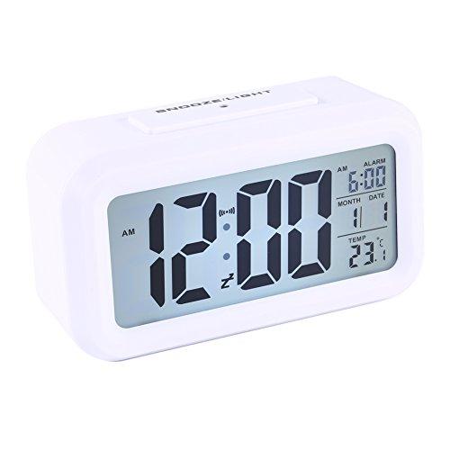 Reloj LED Digital Alarma despertador dormido activada Sensor de luz registra Tiempo Fecha Temperatura (Blanco)