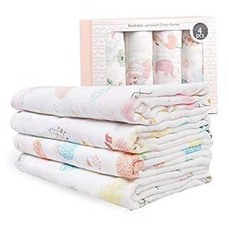 Mantas de Muselina de Bambú Algodón,Muselinas Pack de 4,Mantitas para Bebes 120×120 cm