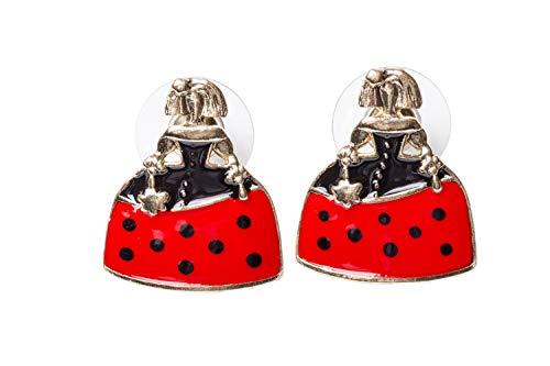 Pendientes presión Meninas esmalte negro y rojo con lunares para mujer y niña de 24Joyas