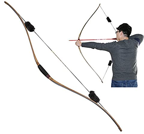 Toparchery Archery One Piece Traditional Bow Triangular Wood Longbow Hunting Target Practice With Otter Balls String Silencer For Right Hand and Left Hand (35)