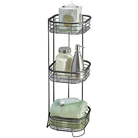 mDesign - Estantes para almacenamiento en el cuarto de baño o en el cubículo de ducha; para toallas, jabón, champú, loción, accesorios - 3 niveles - Negro mate