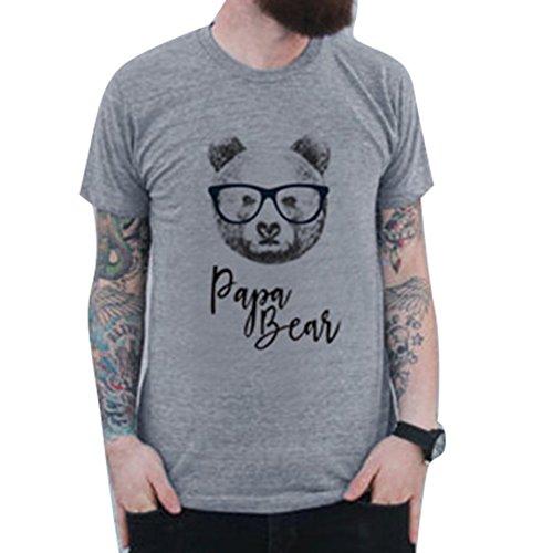 Shirt Match Herren (Junkai Familien-Passende Spitzen Bindung Bär für Mamma Vati Scherzt Baby Match T-Shirt Papa Bear L)