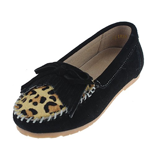 maxu Kid Fille Antidérapant sur robe Leopard Mary Jane Plat Noir