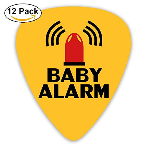 Celluloid Guitar Picks Best Gift For Guitar Lover Acoustic Guitar Plectrums,Print Baby Alarm,0.46Mm/0.73Mm/0.96Mm,12 Pack