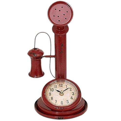 Pendule métal en forme de vieux téléphone - Rouge