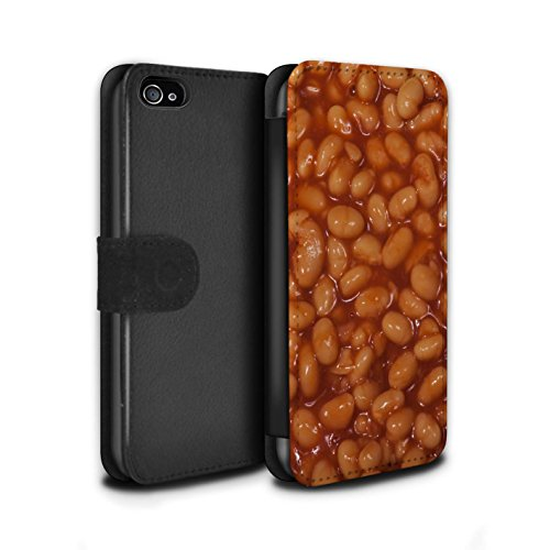 Stuff4 Coque/Etui/Housse Cuir PU Case/Cover pour Apple iPhone 4/4S / Chocolat Design / Nourriture Collection Haricots Cuits au Four