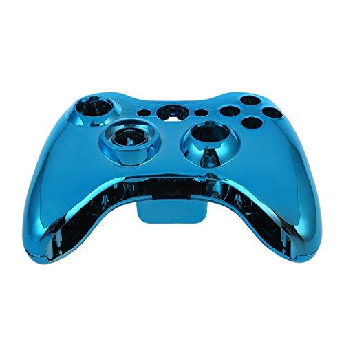 SODIAL (R) blau Chrom Custom Wireless-Controller Ersatz Schalenkoffer-Set fuer Xbox 360