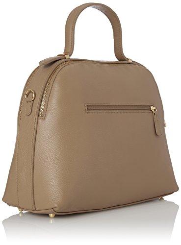 CTM Damenhandtasche mit Innen Schultergurt, echtes weichem Leder in Italien - 34x28x15 Cm Grau (Fango)