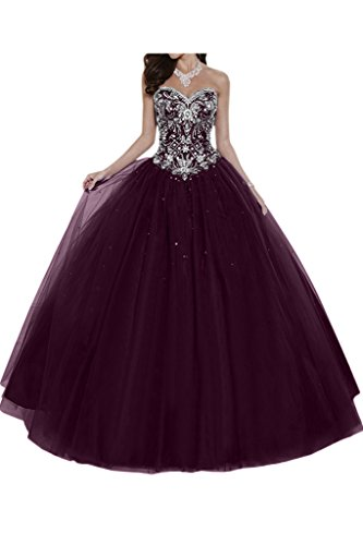 Gorgeous Bride Elegant Herzform Lang A-Linie Ballon Tuell Satin Abendkleider Festkleid Ballkleid -42...