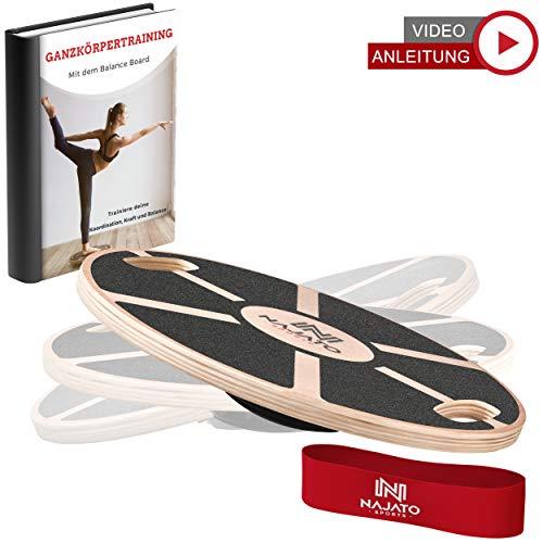 NAJATO Sports Balance Board aus Holz - Mit rutschfestem gummiertem Standfuß - Wackelbrett mit Handgriffen für mehr Übungsmöglichkeiten