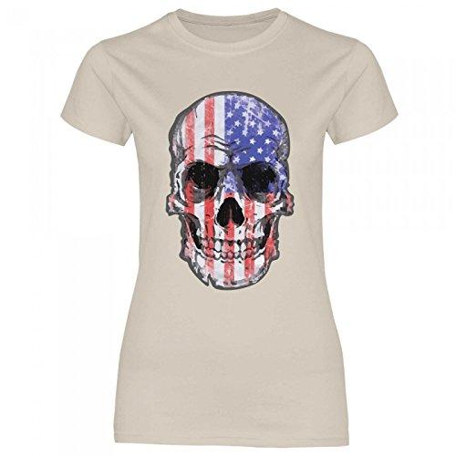 Royal Shirt df24 Damen T-Shirt USA Amerika Stars Stripes Flagge | Hot Rod Biker Totenkopf, Größe:S, Farbe:Sand