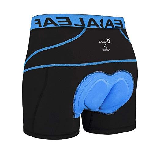 Baleaf Herren Radunterhose mit Sitzpolster Fahrrad Unterwäsche Pro Bike Boxer mit Gummibund Blau Größe L