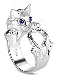 Gudeke Animal apertura ajustable gato anillo de plata anillo de boda para las mujeres