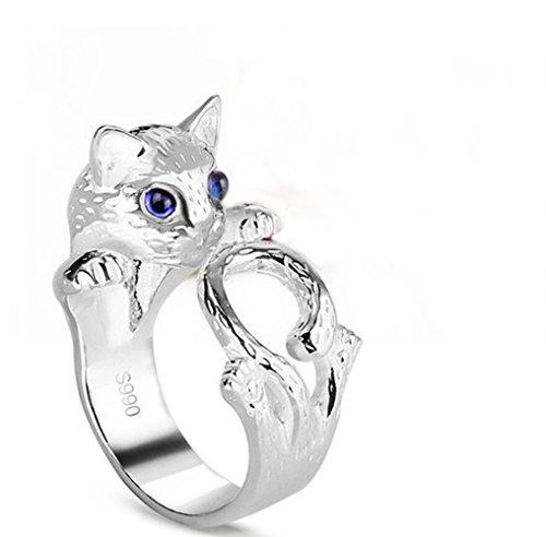 Gudeke Tieröffnung durchbrochen Verstellbar Katzen-Silber Trauringe Ring Hochzeit Band für - Frauen Für Hochzeit-band-ring