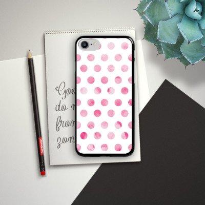 Apple iPhone X Silikon Hülle Case Schutzhülle Punkte Frühling Pink Hard Case schwarz