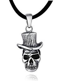 DonDon 50 cm Kautschuk Halskette mit Edelstahl Totenkopf Anhänger in einem schwarzen Samtbeutel