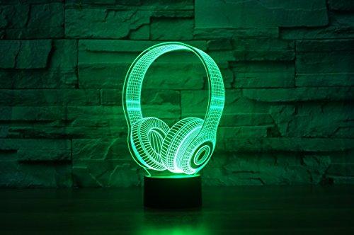 Kopfhörer Hologramm 3d Lampe Nachttischlampe, Nachtlicht fürs Kinderzimmer, LED Lampe fürs Wohnzimmer - 3