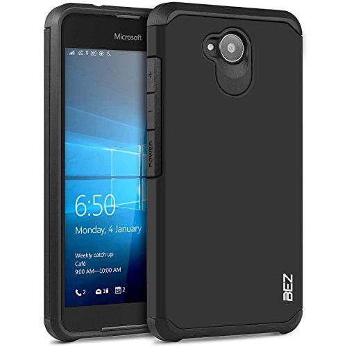 Microsoft Lumia 650 Hülle, BEZ® Stoßfestes Etui, [Heavy Duty Serie] Outdoor Dual Layer Armor Case Handy Schutzhülle [Shockproof] robuste Hülle für Microsoft Lumia 650 - Schwarz