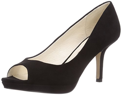 Buffalo London 111-1354 SUEDE Damen Peep-Toe Pumps Schwarz (Black 01)