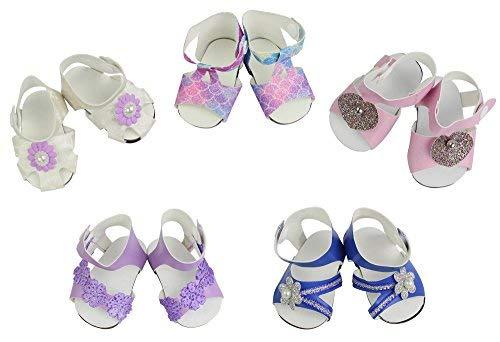 ZITA ELEMENT Zapatos de Muñecas - 5 Pares Zapatos Hecha a Mano Sandalias de Moda Accesorios para Muñecas de 40-46cm Mejor Regalo Premium y Recompensa para American Girl Doll y Otro Muñecas