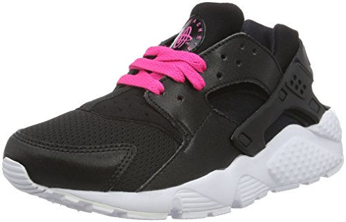 Nike Unisex-Kinder Huarache Run (GS) Shoe Low-Top, Schwarz (007 Black/White-Pink Blast), 37.5 EU (Womens White Huarache)