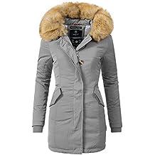 Marikoo karmaa - Cappotto invernale da donna, cappuccio con pelliccia sintetica