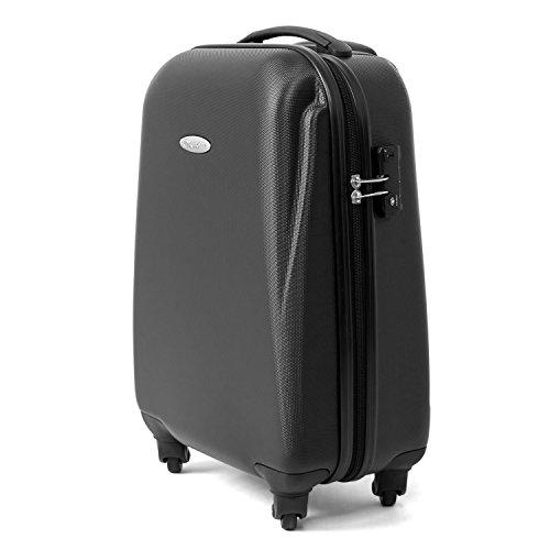 MasterGear Handgepäck Koffer aus ABS mit Reißverschluss in schwarz , 4 Rollen (360 Grad) , Trolley, Reisekoffer, Hartschalenkoffer, TSA Schloss , für zahlreiche Fluggesellschaften geeignet