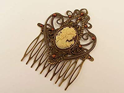 Peigne à cheveux avec camée en bronze brun