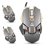 Gaming Mouse Wired 7 Buttons 3200DPI 1000Hz Regolazione del Guadagno Regolazione del Peso 4 Luci LED a Colori Respirabili Idoneo per Giochi da Ufficio per Laptop