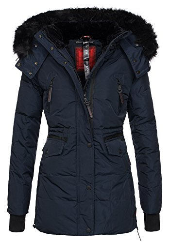 Navahoo Damen Winter Jacke Parka Teddy Fell Mantel Winterjacke warm B363 [B363-Navy-Gr.L]