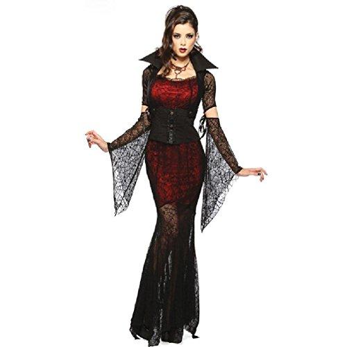 lloween Sexy Cosplay Kostüm Schwarze Spinne Lace Tight Langes Kleid Vampire Cosplay Kostüm (Baby-vampir Kostüme)