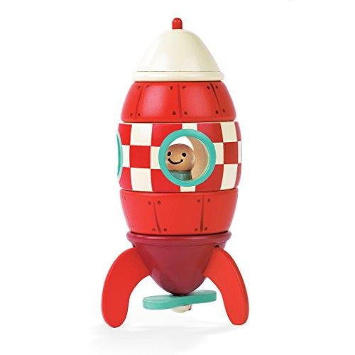 Janod Cohete magnético de madera 5 piezas, Pequeña (16 cm) (J05207)