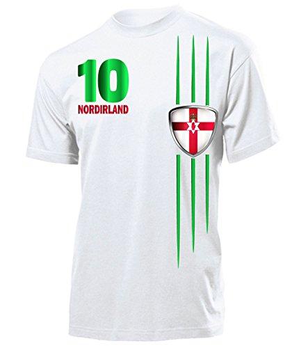 Nordirland Fanshirt 4744 Fussball Herren Fun-T-Shirts Weiss XXL
