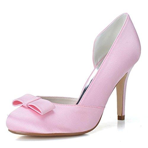 Elegant high shoes Weibliche Zehe mit Closed Toe Schuhe EI-5623-03 Hochzeit Satin Schnalle Brautschuhe, Pink, 37
