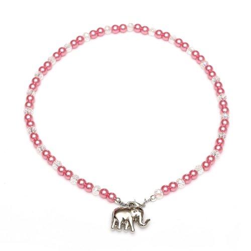 Niños Collar con colgante - niños collar con colour rosa y blanco...