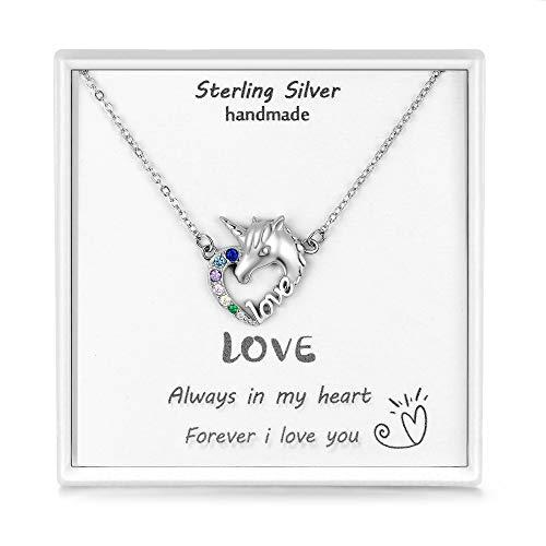 Qings Glitzer Zirkonia Einhorn Anhänger 925 Silber Herz Kette Mädchen Love Halskette Kinder...