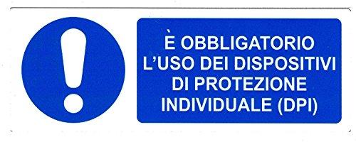 CARTELLONISTICA ADESIVA SICUREZZA DEL LAVORO 'E' OBBLIGATORIO L'USO DEI DISPOSITIVI DI PROTEZIONE INDIVIDUALE (DPI)' (22x8 CM)