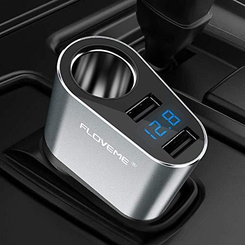 FLOVEME KFZ-Ladegerät, Dual USB Ports Auto Ladegerät USB Adapter für iPhone XS MAX/XS/XR/X, 8/7P, 6/6s/6p, Samsung S9/S8 Plus, Note 8 usw. - Grau