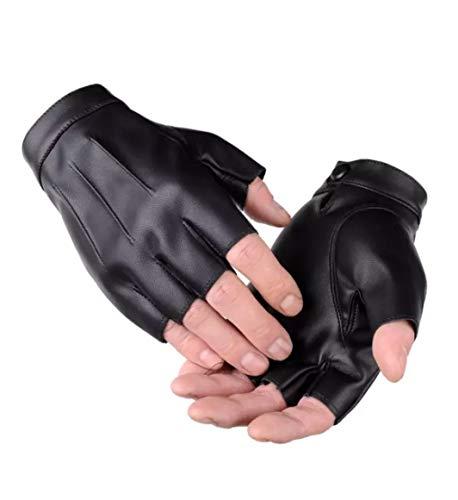 WEPOP Guanti Senza Dita Guanto Guida PU Ecopelle Mezza Finger per Moto Ciclismo Arrampicata Palestra All'aperto Sport Uomini Donne Adolescenti (nero1, L)