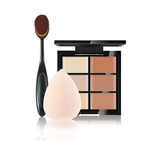 FantasyDay® 6 Couleurs de Maquillage Crème Correcteur Concealer Contour Palette Fond de Teint Cosmétique Anti-cernes Mettez en Surbrillance Camouflage Palette + 1PC Pinceau de Maquillage +1PC Beauty Blender #2