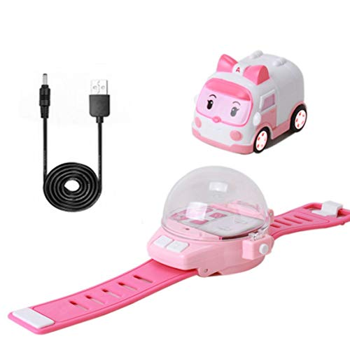 Fantasyworld RC Mini Cartoon Car Gravity Sensing Remote Control Toy Car with Rechargeable Watch Children Toy for Boys Girls