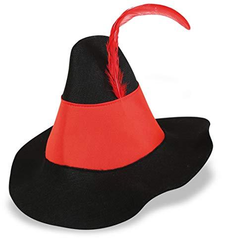 narrenwelt Räuberhut mit roter Federund rotem Band Hut Gauner Bandit ca Gr. ()