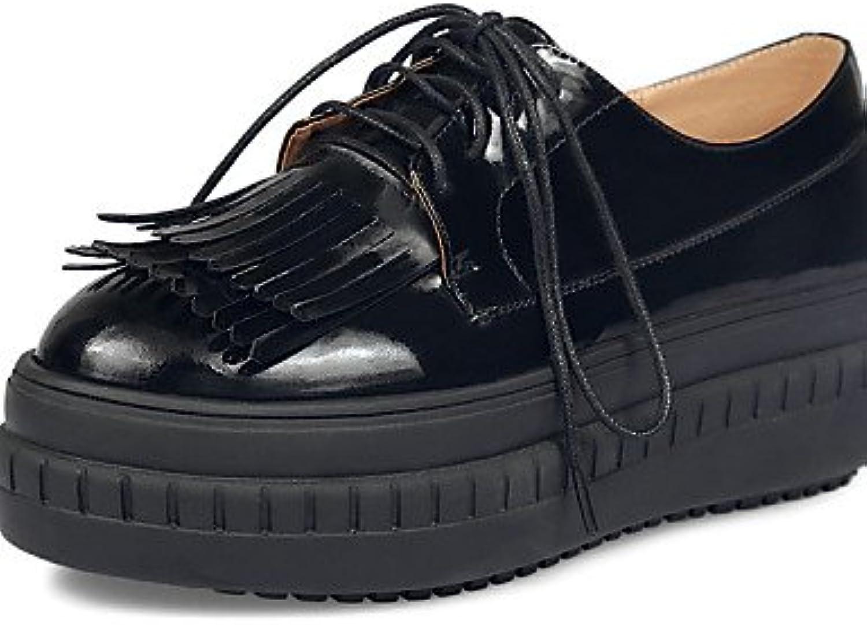 njx/Hug Damen Schuhe Rindsleder Plattform Schuhe Schlupfschuhe Outdoor schwarz/weiß