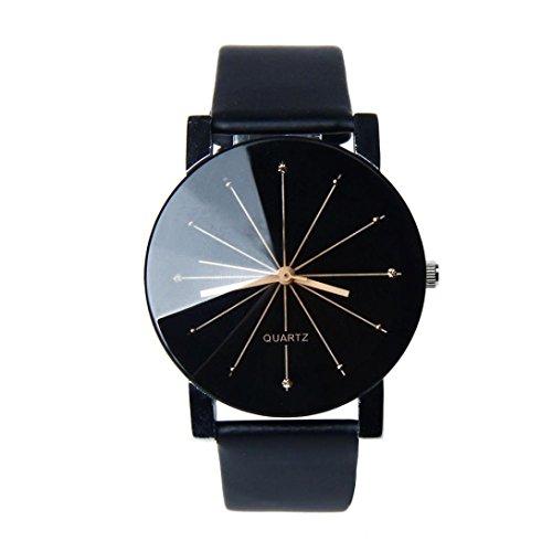 Sansee Männer und Frauen Quarz Zifferblatt Uhr Leder Armbanduhr-konvex Paar Uhr (Schwarz)