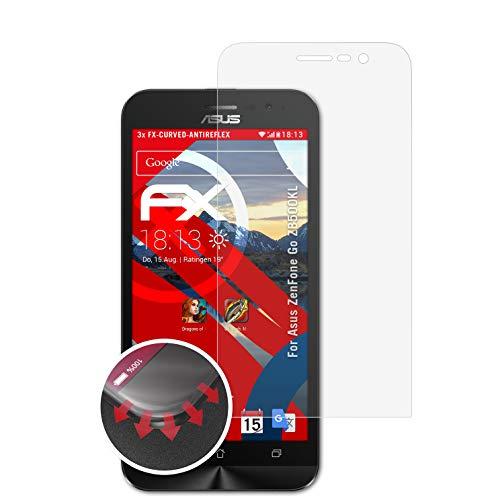 atFolix Schutzfolie passend für Asus ZenFone Go ZB500KL Folie, entspiegelnde & Flexible FX Bildschirmschutzfolie (3X)