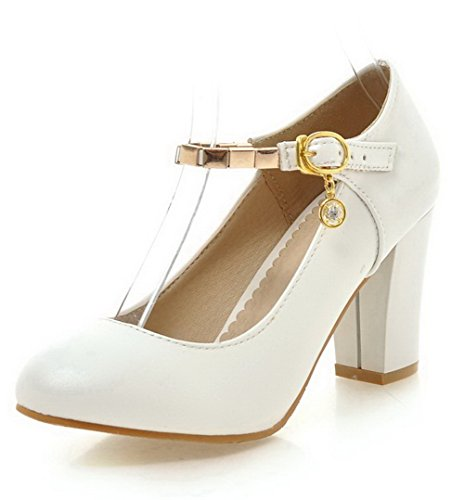 Légeres Talon Boucle Blanc Haut Femme Chaussures Rond AgooLar Unie à Couleur SzCFwxTq4