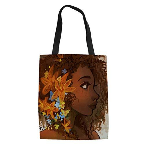 Damen Leinen Drawstring (GIERTTR Edruckte Einkaufstasche Aus Segeltuch,Khaki Nationalen Stil Vintage Afrikanischen Leinen Casual Damen Taschen Taschen Wiederverwendbare Einkaufstasche Lady Girl Durable Handtaschen)