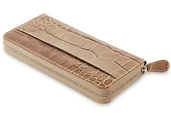 David Hampton Serengeti Crocodile Print Leather Zip Around Wallet
