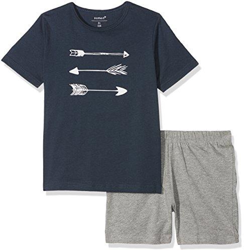 NAME IT Jungen Zweiteiliger Schlafanzug Nkmnightset Grey Mel SS Shorts, Mehrfarbig (Grey Melange Grey Melange), 116 (Schlafanzug Für Kids)