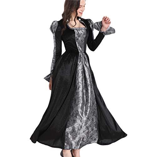 Kostüm Frau Frankenstein's - INLLADDY Kleid Damen Korsagekleid Steampunk Gothic Kostüm Magic Mistress Hexenkostüm Teufelchen Halloween Cosplay Schwarz M